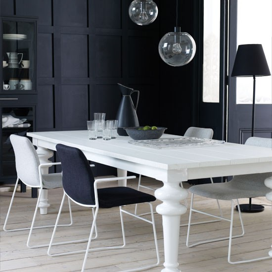 Modern-black-and-white-dining-room